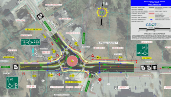 Concept layout updated February 2021 for state route 42 roundabout at state route 16 in Jackson (Georgia DOT photo)