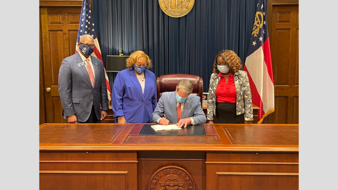 Photo of Governor Kemp signing senate bill 22 on March 8, 2021 (special photo)