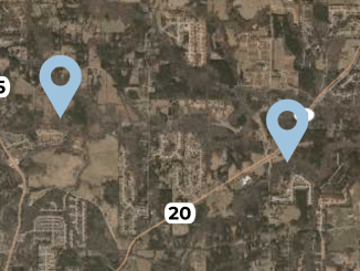 Map of two proposed conservation subdivisions in Union Grove (Henry County aerial with staff edits)