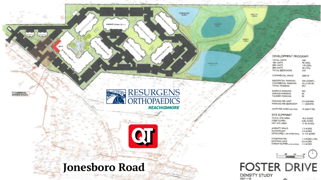 Concept layout for Foster Drive apartments with surrounding business logos (Arlington Properties photo, staff modifications)