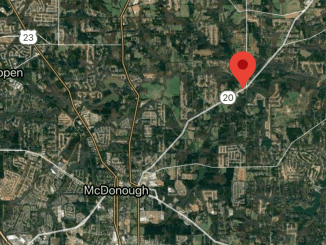 Satellite image of McDonough with pin dropped at state route 20 and Airline Road (Google photo)