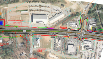 Concept layout for state route 81 widening project near Lake Dow Road. Photo shows a future four-lane roadway with a divided center median. (Georgia DOT photo)