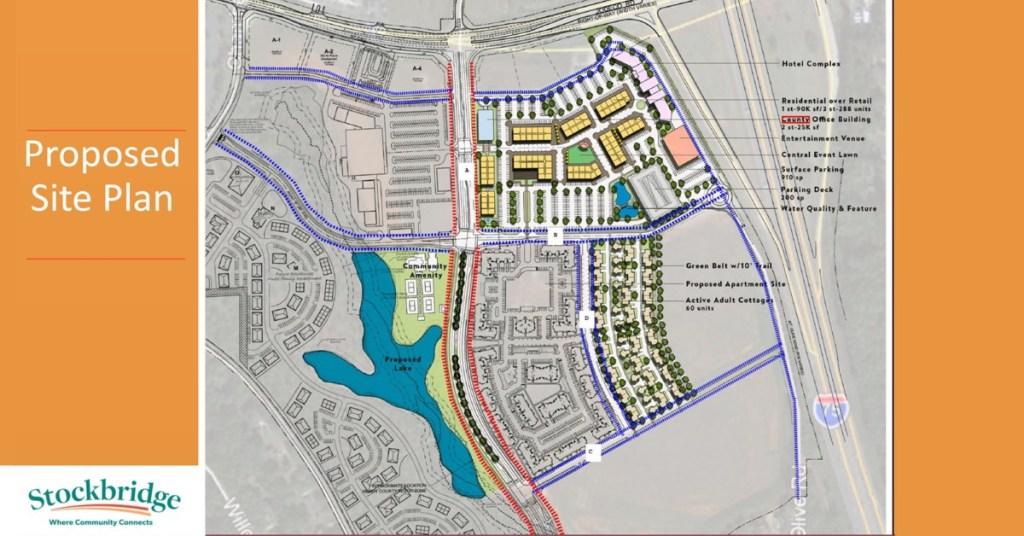 Photo of Bridges at Jodeco concept site plan dated July 2021 (Stockbridge photo).