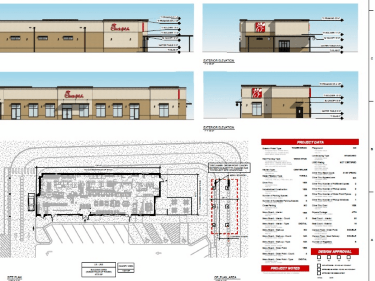 Photo shows building elevations plans for Chick-fil-A in Locust Grove (Chick-fil-A photos)