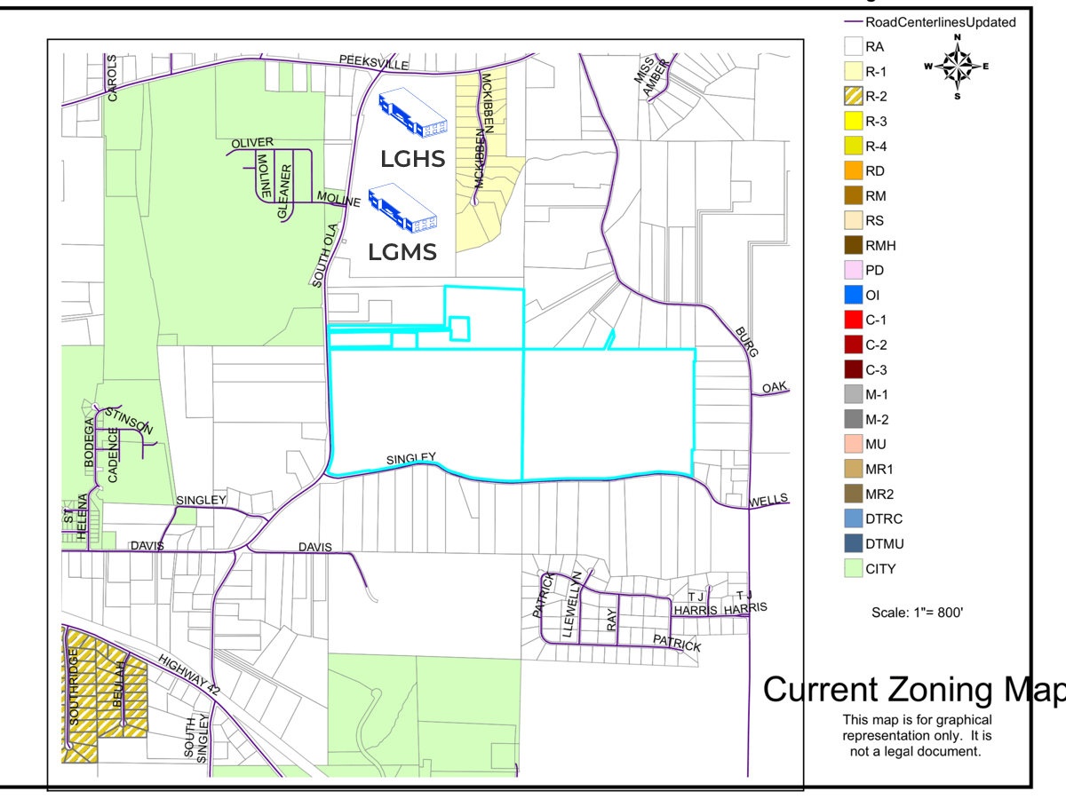 Photo shows zoning map in the vicinity of South Ola Road and Singley Drive (Henry County photo).