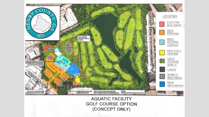 Concept map for the aquatic center at the golf course option in McDonough (Henry County photo)