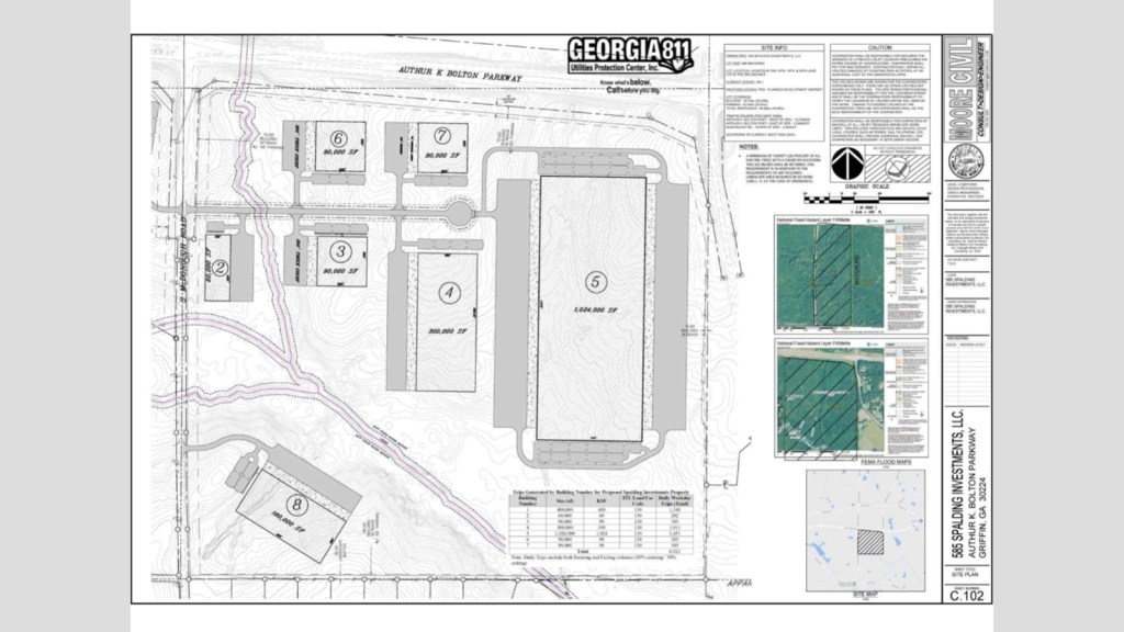 Site plan for 585 Spalding Investments, LLC development (Moore Civil Consulting photo)
