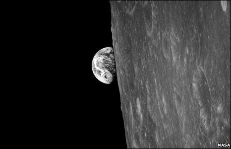 The first Earthrise ever photographed; a colour photograph followed minutes later