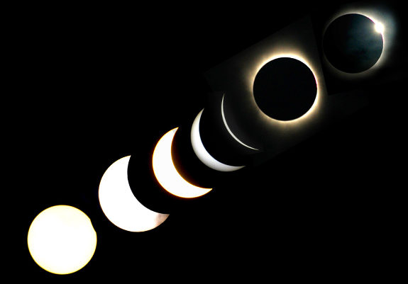 This multiple exposure image shows the various stages of the total solar eclipse in Baihata village, 30 kms from Guwahati, the capital city of the northeastern state of Assam on July 22, 2009. The longest solar eclipse of the 21st century cast a shadow over much of Asia, plunging hundreds of millions into darkness across the giant land masses of India and China. AFP PHOTO/ Biju BORO