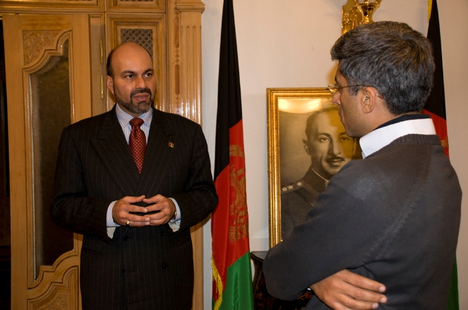 Prince Mostapha Zaher (left) with Indian film-maker Rohit Gandhi in Kabul