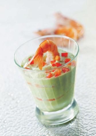 Salade de crevettes et avocat au Carré Frais en verrines