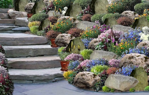 escalier-jardin-fleurs-rocaille - Moving Tahiti