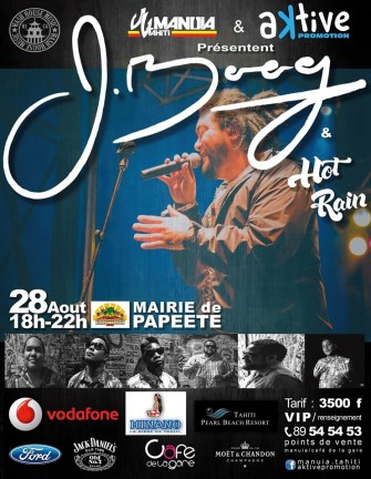 J BOOG & The Hot Rain Band en concert à Tahiti