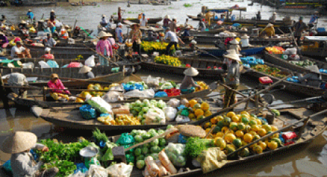 Cai be floating market in Vietnam