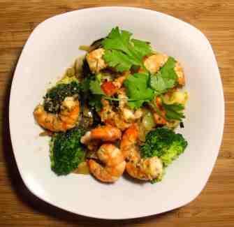 Crevettes mi-cuites et vinaigrette thaïlandaise