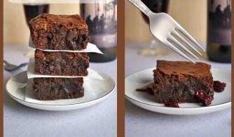 Un brownie au vin rouge et au chocolat
