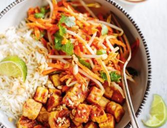 Tempeh grillé et salade de carotte au lait de coco