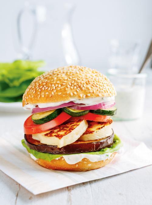 Burger végé au fromage grillé