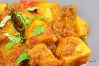 Vegan – ragoût de pommes de terre, aubergine et huile de coco