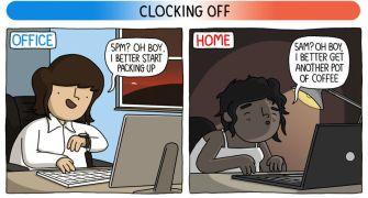 James Chapman illustre la différence entre travailler chez soi ou au bureau