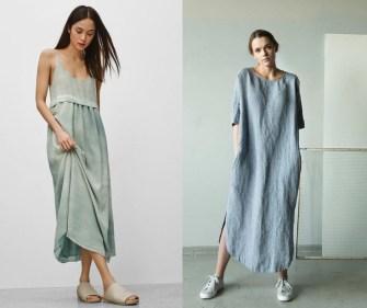 La robe longue en lin, un look shabby chic