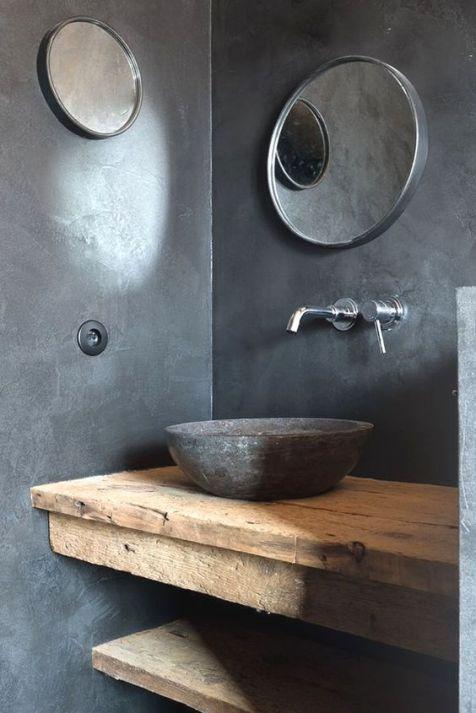 Salle de bain en béton et en bois (1)
