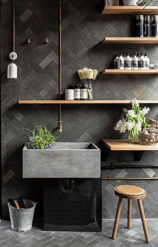 Salle de bain en béton et en bois (7)