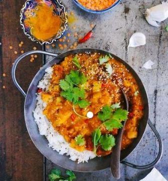 Lentilles corail, lait de coco et riz basmati
