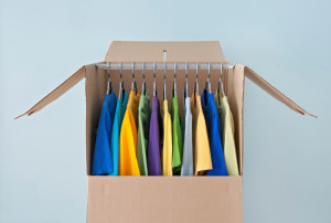 clothes hanging in box