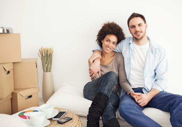 couple sitting on futon