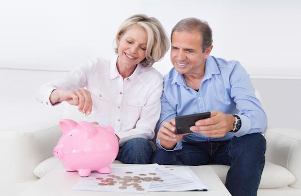 older couple piggy bank
