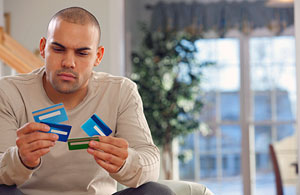 person with credit cards