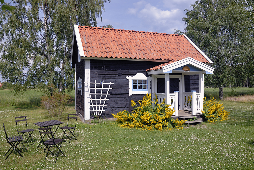 tiny house with red roof