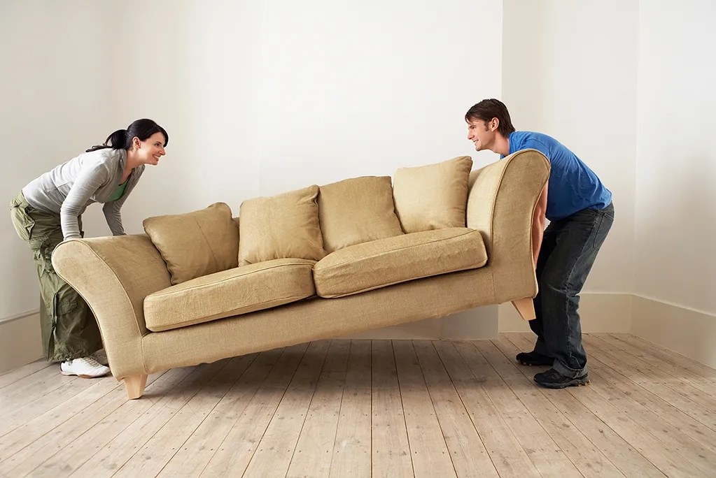couple moving couch