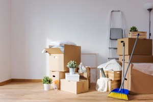 moving boxes and cleaning