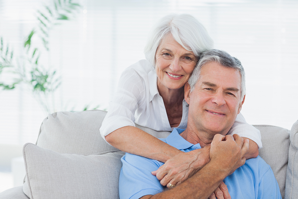 retirement couple on couch