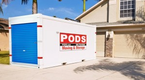 pods container in driveway