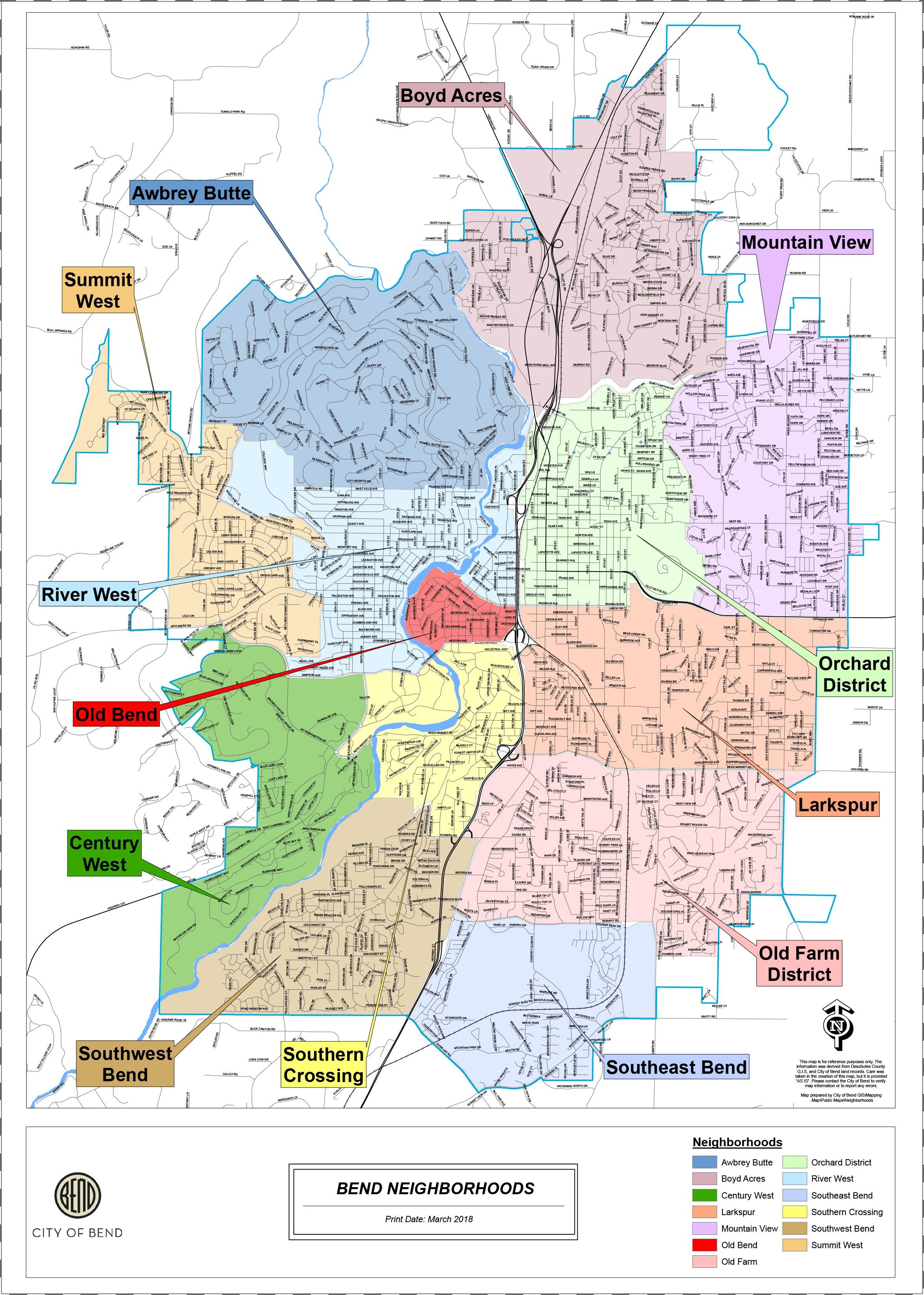 Bend Oregon Zip Code Map : oregon, Discover, Bend's, Neighborhoods, Moving, Bend,, Oregon