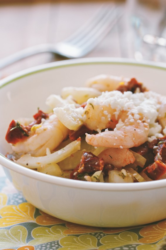 shrimp with fennel, dill and feta | movitabeaucoup.com