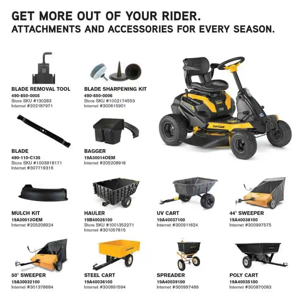 "Cub Cadet CC30E Lithium Ion Battery Powered Riding Mower 30"" - Attachment List"