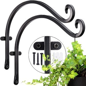 Hanging plant bracket for hand forged outdoor