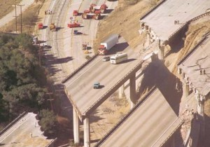 """When parts of the Golden State Freeway collapsed, the vehicles on the remaining """"islands"""" of freeway had to be removed by crane.  Can you imagine being a driver in one of those vehicles?"""