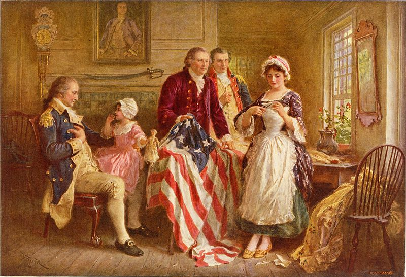 Betsy Ross showing Major Ross and Robert Morris how she cut the stars for the American flag; George Washington sits in a chair on the left. Painting by Jean Leon Gerome Ferris.