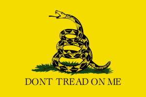 Various versions of the flag had an apostrophe (or not), a grass base for the snake (or not), and the snake facing left or right.