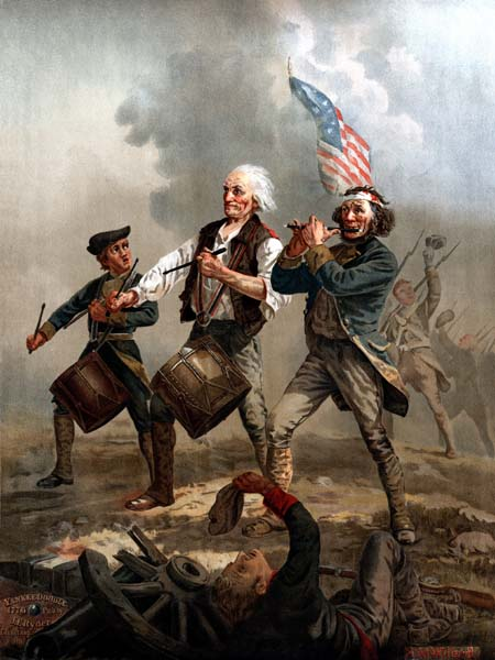 Originally entitled Yankee Doodle, this is one of several versions of a scene painted by Archibald M. Willard in the late nineteenth century that came to be known as The Spirit of '76. Often imitated or parodied, it is one of the most famous images relating to the American Revolutionary War. The life-sized original hangs in Abbot Hall in Marblehead, Massachusetts. The painting uses a Cowpens flag.