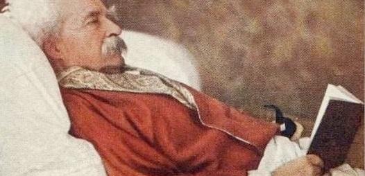 Mark Twain in a color chromograph on December 21, 1908. Credit: Alvin Langdon Coburn