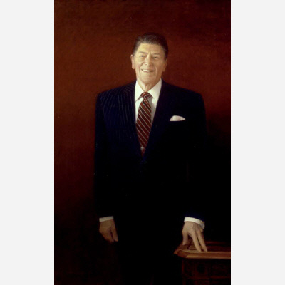"This portrait is based on some thirty studies that artist Henry Casselli made of Reagan over four days at the White House in late 1988. Commissioned with the National Portrait Gallery in mind, the finished picture arrived at the White House the following January for presidential inspection. When Reagan saw it, he exclaimed, ""Yep! That's the old buckaroo."""