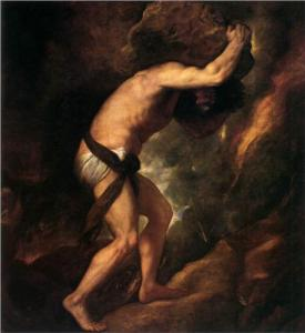 Sisyphus, condemned to carry his burden to the top of a mountain through all eternity. Painting by Titian, 1549, from the Museo del Prado, Madrid, Spain