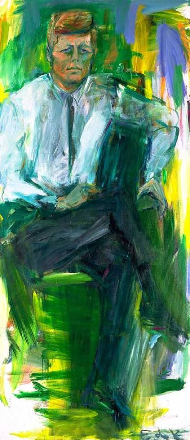 Elaine de Kooning, known for her contemporary, gestural portraits, was chosen in 1962 to create a portrait of President Kennedy for the Truman Library because she worked quickly. She had seven informal sessions in Palm Beach, Florida, with Kennedy at the end of December and early January of 1963. De Kooning was so moved by Kennedy that over the next ten months she created hundreds of drawings and twenty-three paintings of him. After his assassination, she didn't paint for a year.