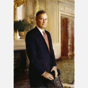 Bush sat for this portrait at his home in Kennebunkport, Maine. The picture's backdrop, however, is the East Room of the White House. Among artist Ron Sherr's aims was to balance the formality of the composition with a warmth capable of drawing the viewer into the picture.